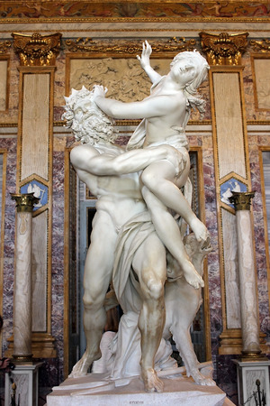 Rome, Italy - July 02: baroque marble sculptural group by Italian artist Gian Lorenzo Bernini, Rape of Proserpine on July 02, 2014, Galleria Borghese, Rome, Italy Editorial