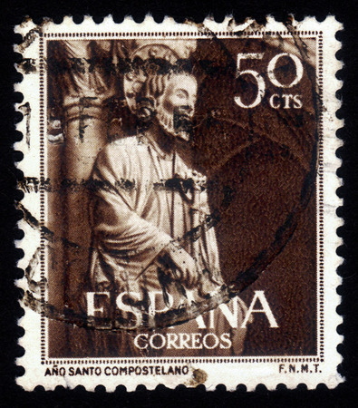 Spain - CIRCA 1954: A stamp printed in Spain, shows detail of the Glory Gate, Cathedral of Santiago de Compostella in Galicia, circa 1954 photo