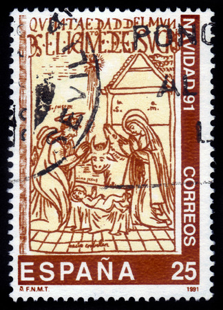chronicle: Spain - CIRCA 1991: A stamp printed in Spain, shows Christmas, illustration from 17th book, The New Chronicle by Guaman Poma de Ayala, circa 1991