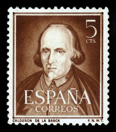 dramatist: Spain - CIRCA 1951: A stamp printed in Spain, shows portrait Pedro Calderon de la Barca, Spanish dramatist, poet, circa 1951