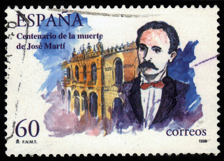 essayist: SPAIN - CIRCA 1995: a stamp printed in the Spain shows Jose Marti, Cuban national hero, writer, poet, nationalist leader, circa 1995