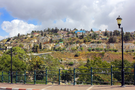 view of the residential area on Mount Canaan, Safed, Israel Stock Photo