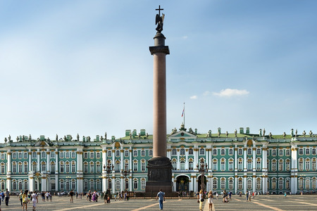 ST. PETERSBURG, RUSSIA - August 06: Winter Palace and Alexander Column in the Palace Square in Saint Petersburg, Russia, symbol of Saint Petersburg on August 06, 2014