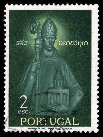 prior: Portugal - CIRCA 1958: A stamp printed in Portugal, shows St. Theotonius, prior of Santa Cruz monastery, national monument in Coimbra, Portugal, circa 1958