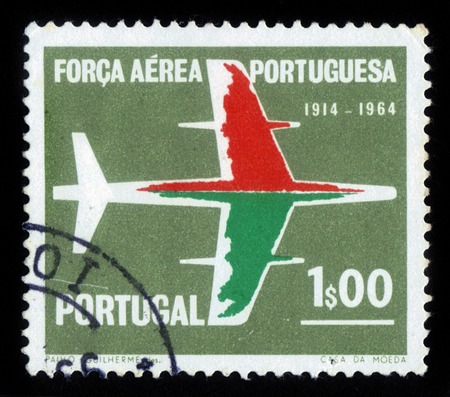 Portugal - CIRCA 1965: A stamp printed in Portugal, shows silhouette of the aircraft, 50 anniversary of the Air Force, series Portuguese Air Force, circa 1965 Editorial