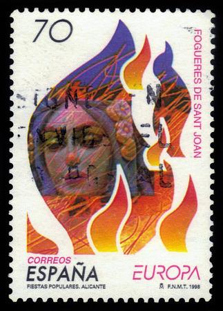 celebrated: Spain - CIRCA 1998: stamp printed in Spain shows Bonfires of Saint John, festival celebrated on the eve of the day of Saint John, circa 1998