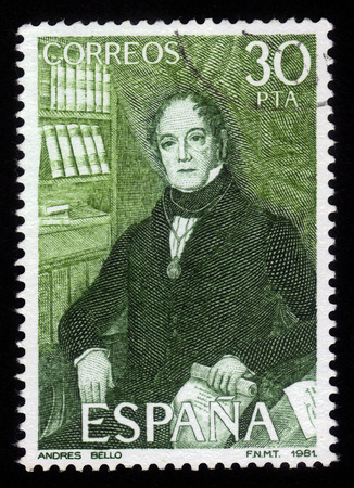 humanist: Spain - CIRCA 1982: A stamp printed in Spain shows portrait of Andres Bello humanist, diplomat, poet, circa 1982