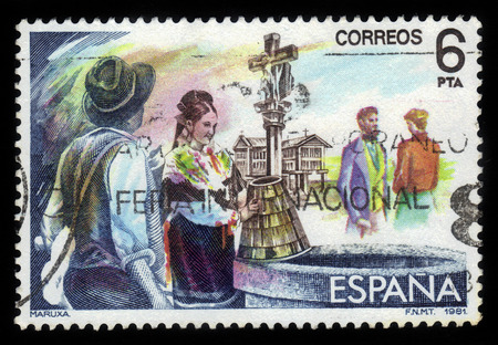 Spain - CIRCA 1981: stamp printed in Spain shows scene from Maruxa by Amadeo Vives, circa 1981 photo