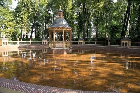 picturesque corner with a gazebo of Peter I in the Summer Garden, Saint Petersburg, Russia