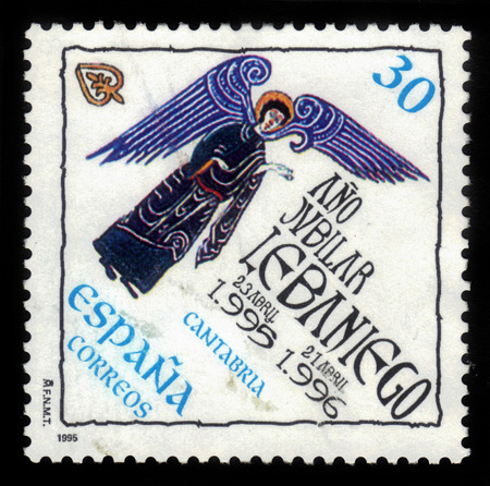 Spain - CIRCA 1995: A stamp printed in Spain, shows logo of jubilee year of Liebana, Cantabria, Santo Toribio de Liebana, roman catholic monastery, circa 1995