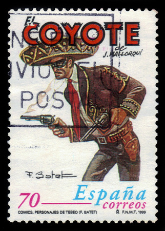 fictional character: Spain - CIRCA 1999: A stamp printed in Spain, shows El Coyote, Spanish fictional character very similar to Zorro, circa 1999