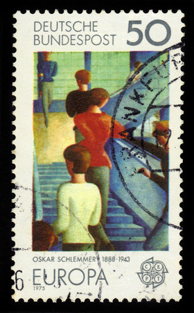 GERMANY - CIRCA 1975: Postage stamp printed in Germany, shows Bauhaus Staircase, painting by Oskar Schlemmer and CEPT emblem, circa 1975