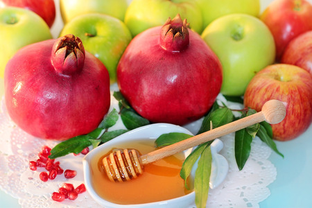 traditional fruits and honey, which should be on the table in the holiday Rosh Hashanah, the Jewish New Year photo