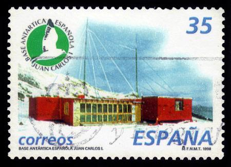 polar station: Spain - CIRCA 1998: A stamp printed in Spain, shows spanish antarctic base, Juan Carlos I, circa 1998