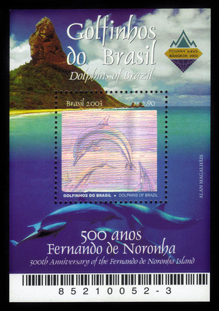 Brazil - CIRCA 2003: a souvenir sheet printed in Brazil , shows Dolphins of Brazil - 500th Anniversary of the Fernando de Noronha island, circa 2003