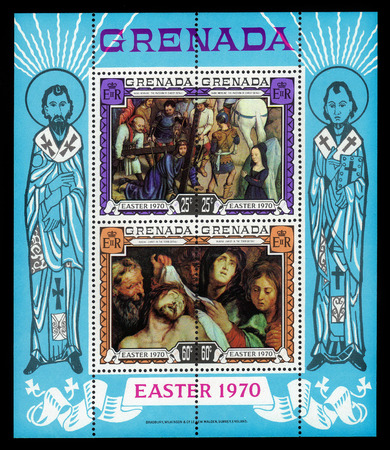 memling: Grenada - CIRCA 1970: a souvenir sheet printed in Grenada, shows paintings by Hans Memling, Passion of Christ and by Rubens, Christ in the Tomb, circa 1970 Editorial