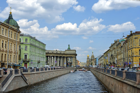 ST. PETERSBURG, RUSSIA - August 08: urban landscape of the historical part  of city view from Griboyedov Canal in Saint Petersburg, Russia, on August 08, 2014
