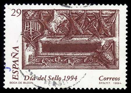 anglo saxon: Spain - CIRCA 1994: A stamp printed in Spain, shows mailbox of Barrister, lawyer of high rank in the Great Britain, circa 1994