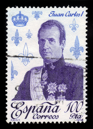 SPAIN - CIRCA 1978: A stamp printed by Spain shows portrait of Juan Carlos I, King of Spain, series royalty and monarchies, circa 1978 photo
