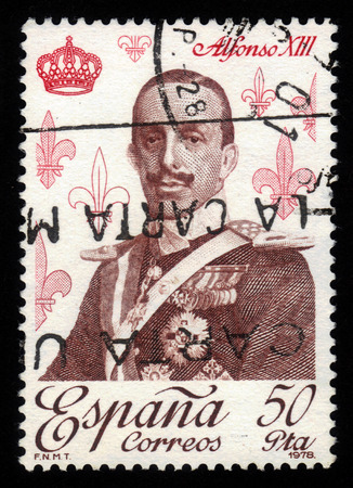 SPAIN - CIRCA 1978: A stamp printed by Spain shows portrait of Alfonso XIII, King of Spain, series royalty and monarchies, circa 1978 photo