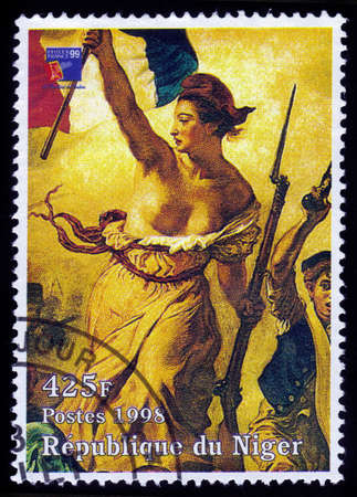 eugene: REPUBLIC NIGER - CIRCA 1998: A stamp printed in Niger shows painting by Eugene Delacroix, Liberty Leading the People, Louvre, Paris, series, circa 1998