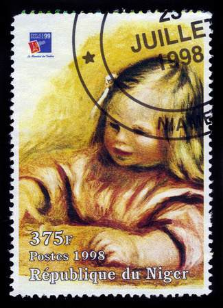 REPUBLIC NIGER - CIRCA 1998: A stamp printed in Niger shows painting by Pierre Auguste Renoir, portrait Jean Renoir 1901, series, circa 1998