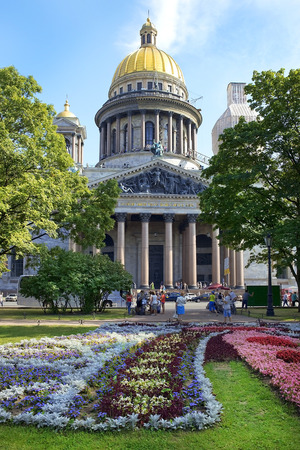 ST. PETERSBURG, RUSSIA - August 10: Saint Isaac cathedral or Isaakievskiy Sobor, architect Auguste de Montferrand, Saint Petersburg, Russia on August 10, 2014.
