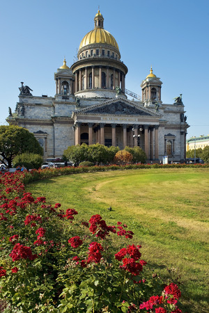 sobor: ST. PETERSBURG, RUSSIA - August 10: Saint Isaac cathedral or Isaakievskiy Sobor, architect Auguste de Montferrand, Saint Petersburg, Russia on August 10, 2014.