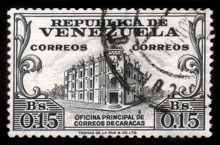 caracas: VENEZUELA - CIRCA 1958: a stamp printed in the Venezuela shows General Post Office, Caracas, grey, series, circa 1958