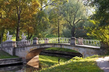 bridge with centaurs in Pavlovsk park, suburb of Saint Petersburg, Russia photo