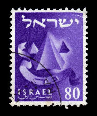 gad: ISRAEL - CIRCA 1955: A stamp printed in Israel honoring twelve tribes of Israel shows Gad , series emblems of the twelve tribes of Israel, circa 1955