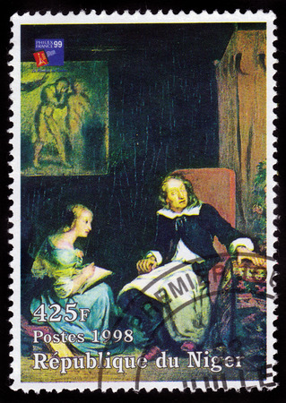 eugene: REPUBLIC NIGER - CIRCA 1998: A stamp printed in Niger shows painting by Eugene Delacroix, John Milton dictates to his daughters, series, circa 1998