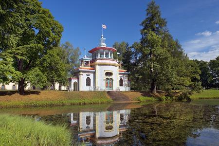 Chinese pavilion in Catherine park, Tsarskoye Selo (Pushkin), architect Vasily Neelov and Yury Velten, neighborhood of Saint-Petersburg, Russia photo