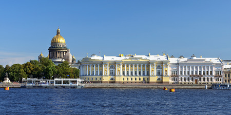 view from the Neva River at the St. Isaacs Cathedral and the Senate and Synod building, St. Petersburg, Russia