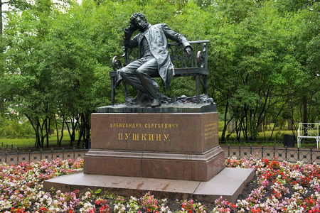alexander great: monument to Alexander Pushkin, sculptor Robert Bach (1900) in Tsarskoye Selo (Pushkin), neighborhood of Saint-Petersburg Editorial