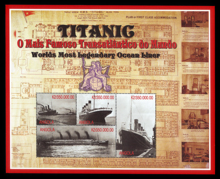 stateroom: Angola - CIRCA 1998: a souvenir sheet printed in Angola shows an image of Titanic, against the backdrop of drawings his decks, circa 1998. Editorial