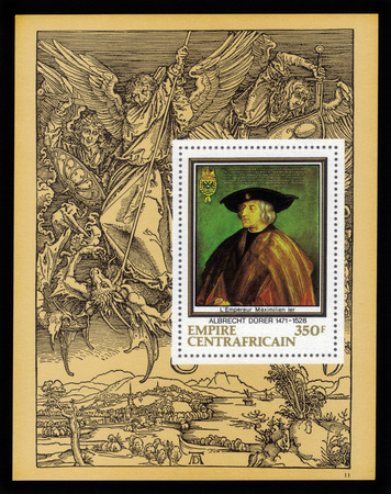 durer: Central African Empire - CIRCA 1978: a souvenir sheet printed in France shows painting by Albrecht Durer \ Emperor Maximilian I \, against the backdrop of his engraving, circa 1978.