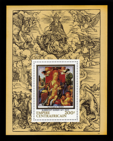 durer: Central African Empire - CIRCA 1978: a souvenir sheet printed in France shows painting by Albrecht Durer \ Madonna with the Siskin\, against the backdrop of his engraving, circa 1978. Editorial