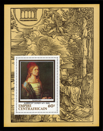 durer: Central African Empire - CIRCA 1978: a souvenir sheet printed in France shows painting by Albrecht Durer \self portrait\, against the backdrop of his engraving, John eats the book, circa 1978