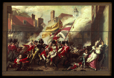 major battle: Jersey - CIRCA 1981: a souvenir sheet printed in Jersey, shows painting by John Singleton Copley The Death of Major Peirson , Bicentenary of Battle of Jersey, circa 1981 Editorial