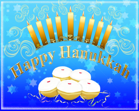 hanukah: Hanukkah greeting card - Hanukkah menorah with burning candles and traditional doughnuts with the inscription Happy Hanukkah Stock Photo