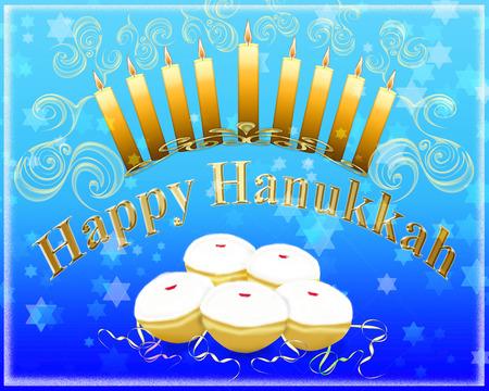 hanukka: Hanukkah greeting card - Hanukkah menorah with burning candles and traditional doughnuts with the inscription Happy Hanukkah Stock Photo