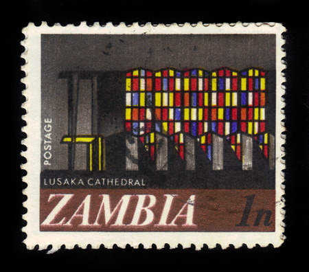 Zambia - CIRCA 1968: A stamp printed in Zambia shows Cathedral in Lusaka, circa 1968