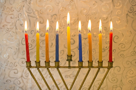 Happy Hanukkah, menorah is nine-branched candelabrum photo