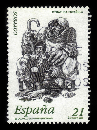 lazarus: Spain - CIRCA 1997: A stamp printed in Spain, shows image of Lazarus and blind beggar from anonymous spanish work \\\\\\\\\\\\\\\\\\\\\\\\\\\\\\\\\\\\\\\\\\\\\\\\\\\\\\\\\\\\\\\the Life of L