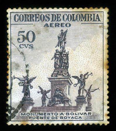 COLOMBIA - CIRCA 1954: A postage stamp printed in Colombia shows the Monumento a Bolivar, Puente de Boyaca, circa 1954