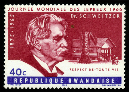 RWANDA - CIRCA 1966: a stamp printed by Rwanda, shows doctor Albert Schweitzer, was a german theologian, organist, philosopher, physician and medical missionary in Africa, series World Leprosy Day, circa 1966