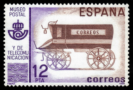 Spain - CIRCA 1981: A stamp printed in Spain, shows old postal mail coach, Postal Museum, Madrid, circa 1981
