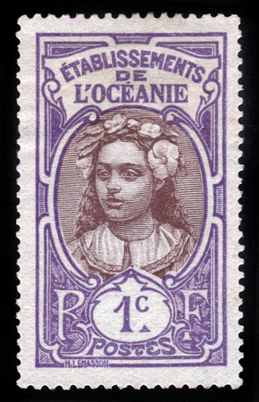 tahitian: FRENCH POLYNESIA - CIRCA 1913: stamp printed by French Polynesia, shows Tahitian Girl, model for this photo was tahitian ?vahine? by the name of Noho Mercier, circa 1913