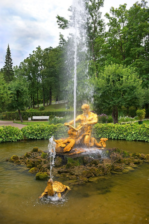 fountain Triton, fighting with the sea monster in Pertergof, Saint-Petersburg, Russia